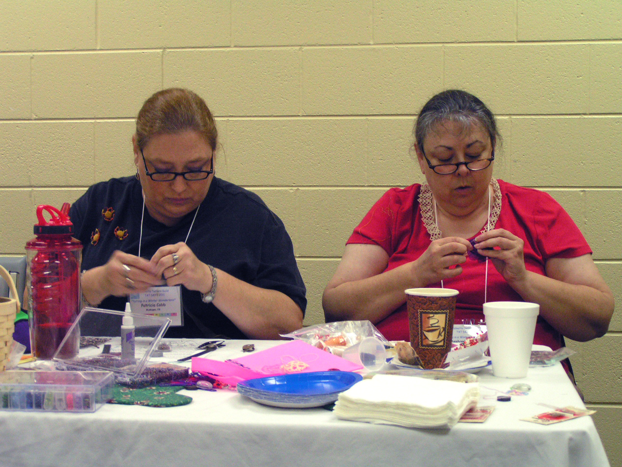 2 participants during Georgia\'s Tatting w/ Flair Class
